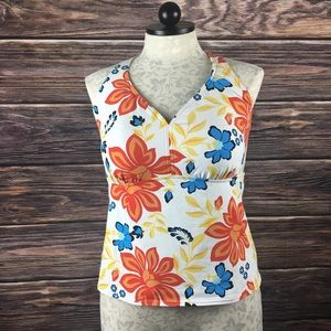 Swim Top Land's End size 16D Floral tankini Top